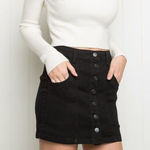 Brandy Melville Jean Button up skirt Black Medium